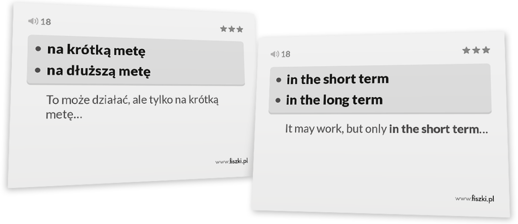 na krótką metę po angielsku