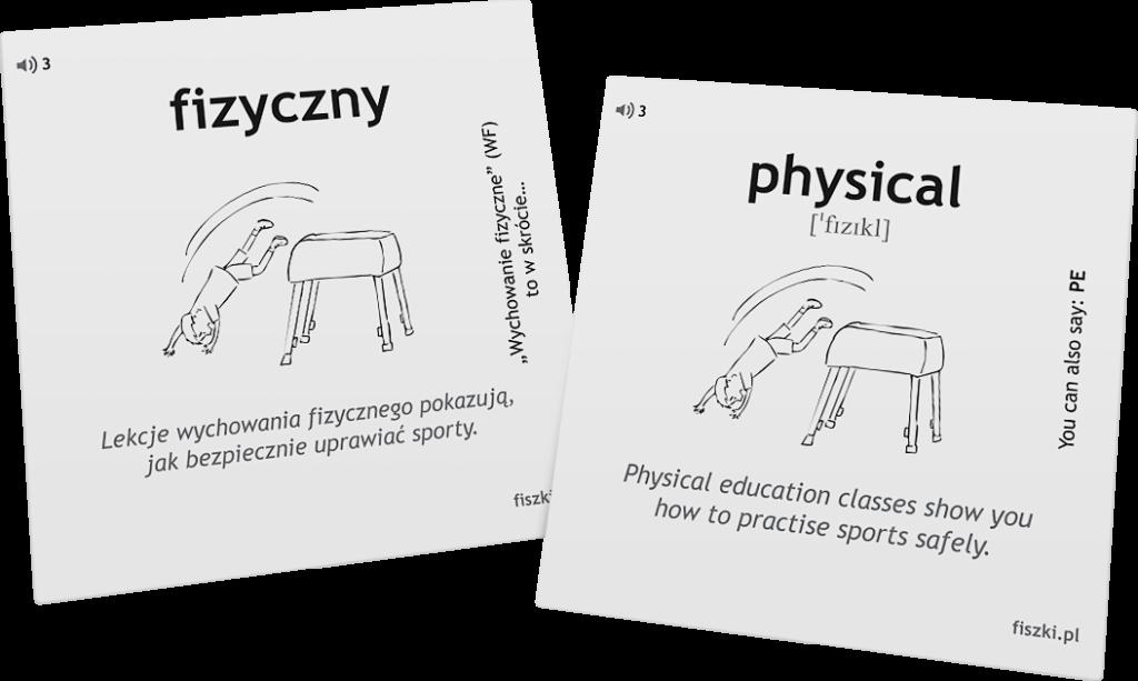 fizyczny po angielsku nauka słówek