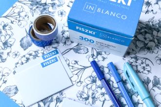 fiszki in blanco niebieskie