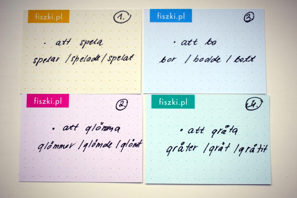 Pastelowe FISZKI in blanco do nauki zasad gramatycznych