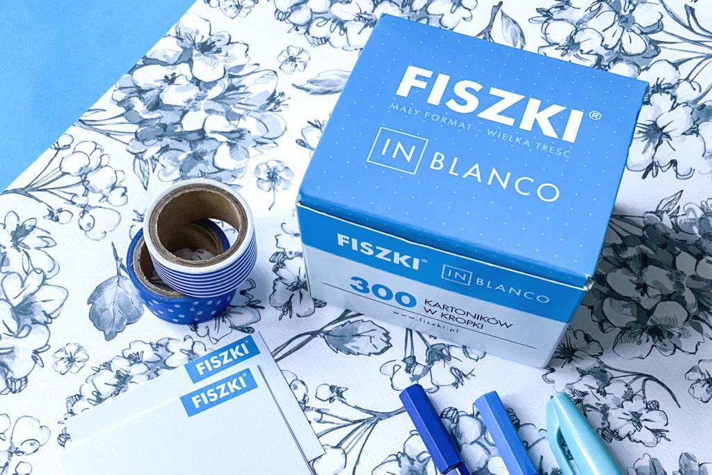 Blue idioms - fiszki in blanco niebieskie w kropki