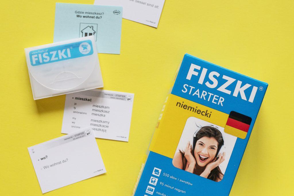 Fiszki STARTER język niemiecki, przykładowe fiszki, etui