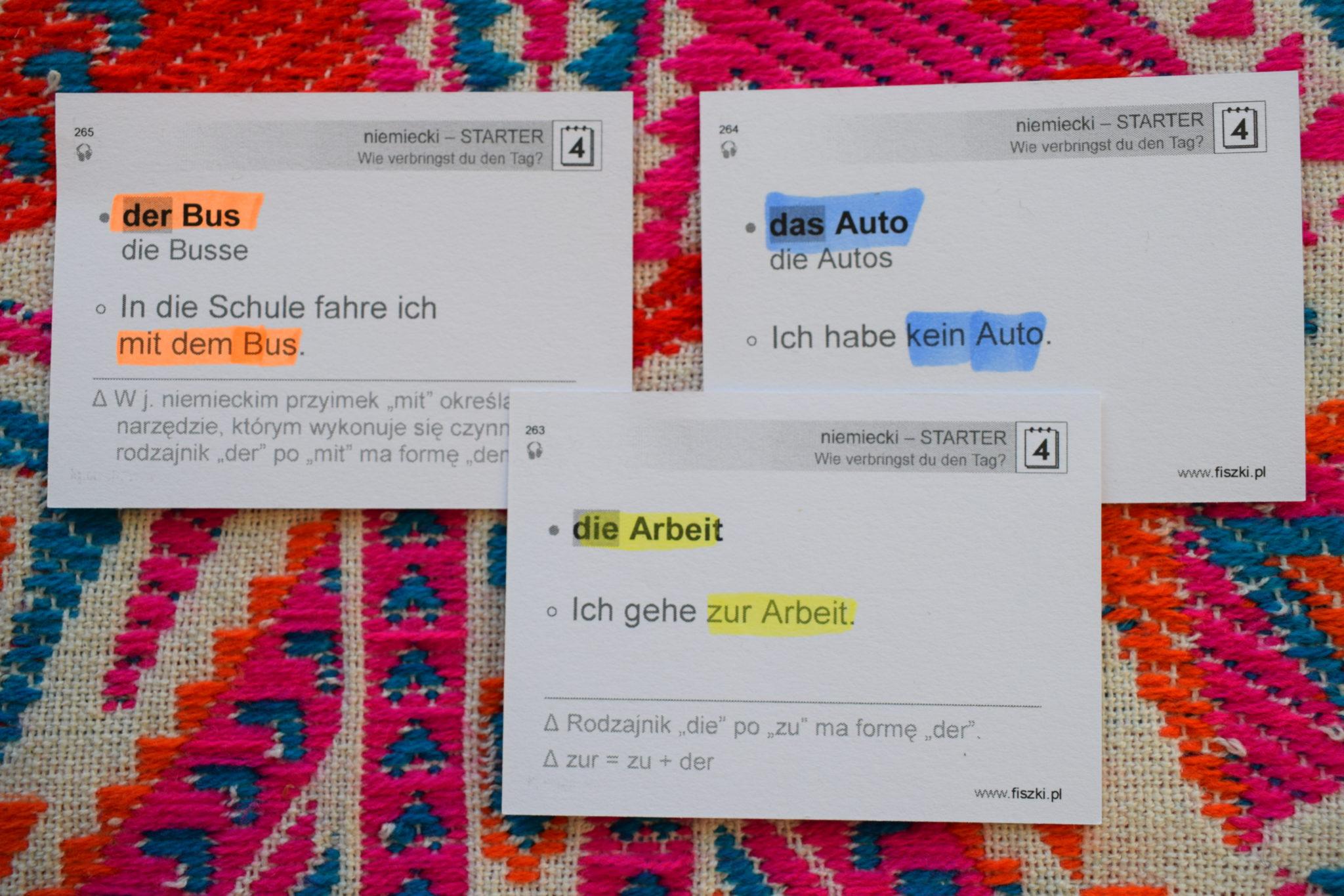 Rodzajniki niemieckie ćwiczenie zasady