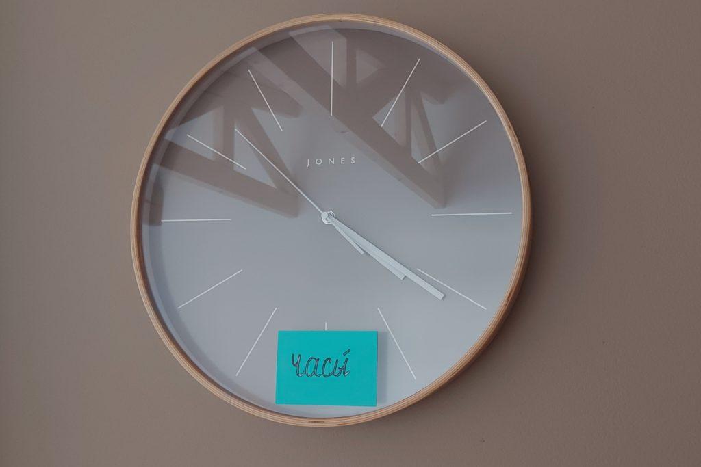 przyczepki karteczki elektrostatyczne zegar