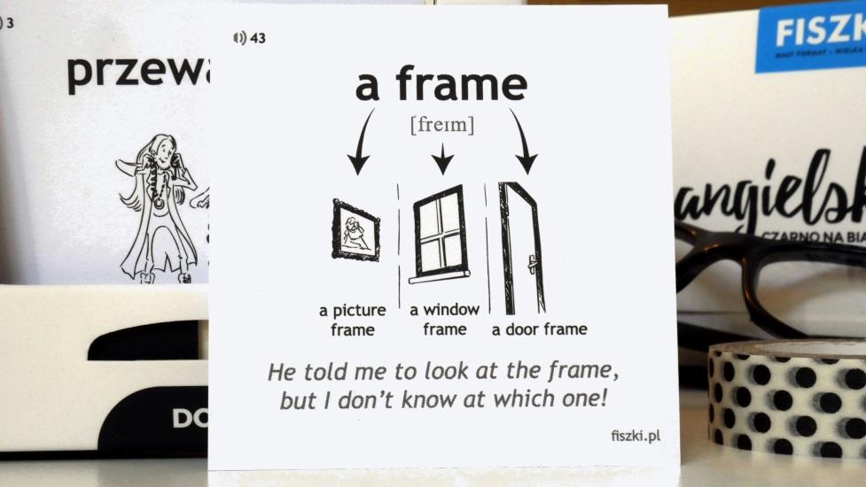 angielska strona fiszki obrazkowej z hasłem frame
