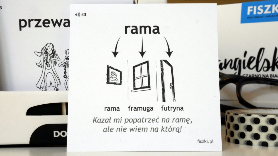 polska strona fiszki obrazkowej z hasłem rama