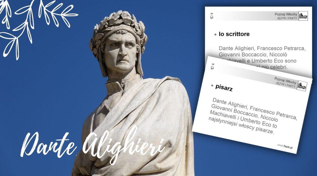 Wirtualna wycieczka do Włoch fiszki - pisarz- posąg Dantego Alghieri